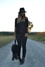 Black-river-island-boots-black-zara-hat-black-replay-bag-black-h-m-pants
