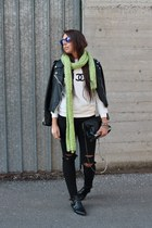 black PERSUNMALL boots - black romwe jacket - white DO-A-FASHION sweater