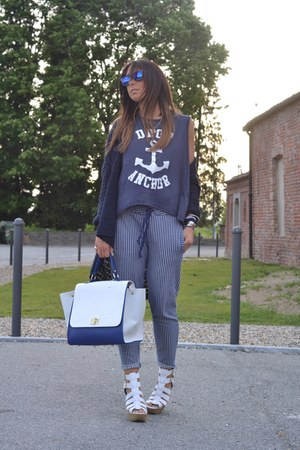 white Zara pants - white River Island wedges - navy Bershka top