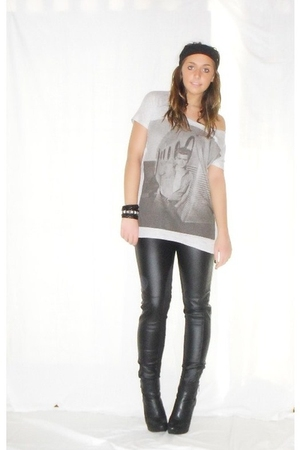 silver Zara t-shirt - Zara pants - black silvian heach boots - silver H&amp;M bracel