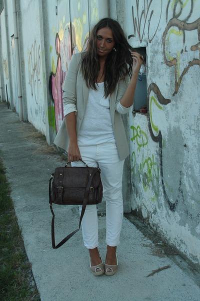 beige Zara blazer - white H&M top - white Zara pants - beige kanna shoes - brown