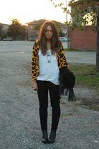 gold H&M cardigan - white H&M top - black Zara pants - black H&M boots - black R