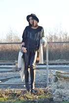 black Zara hat - camel matildaj coat - black Bershka sweater