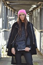 black Mango boots - bubble gum H&M hat - black romwe jacket