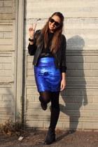 blue Zara skirt - black H&M boots - black Zara jacket - black Zara sweater