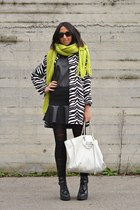 white PERSUNMALL coat - black Zara boots - chartreuse H&M scarf