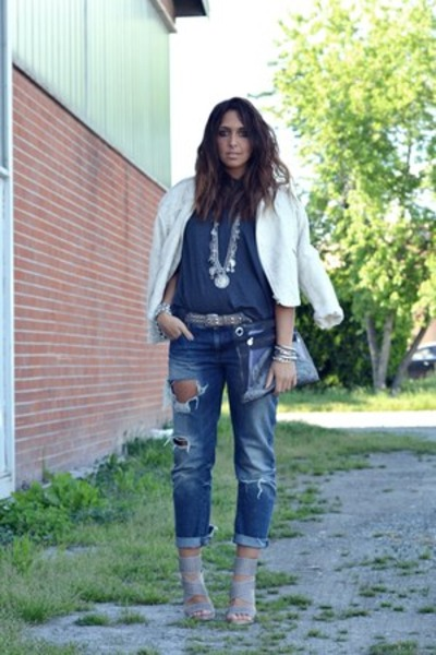 Navy Zara Jeans, Silver No Brand Shoes, Ivory Zara Jackets, Gray ...