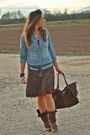 Blue-h-m-shirt-brown-vintage-skirt-brown-no-brand-boots-brown-vintage-purs