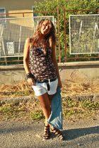 blue H&M vest - black pull&bear top - white H&M shorts - black vintage belt - bl