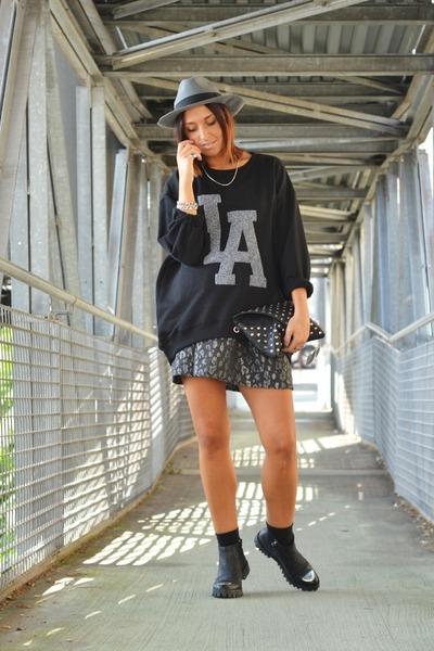 black Hangar boots - black H&M sweater - heather gray lollystar skirt