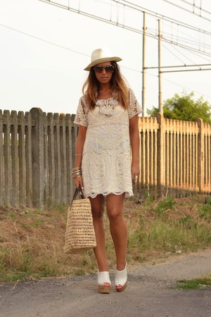 cream Sheinsidecom dress - brown no brand bag - white H&M wedges