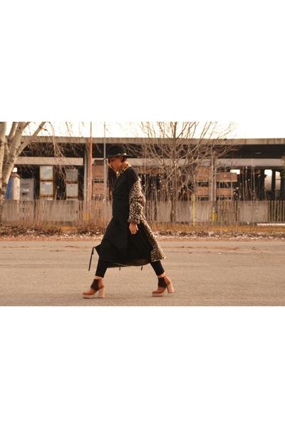 camel asos boots - black Sheinside dress - brown Bershka cardigan