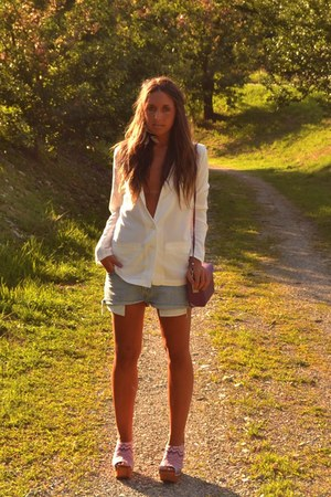 white blazer H&M blazer - pink bag wwwromwecom bag