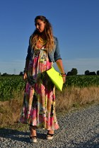 hot pink H&M dress - blue H&M jacket - yellow armadio di matilde bag