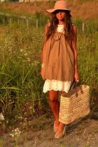 beige dress Zara dress - bronze hat Bershka hat - beige bag from Marocco bag