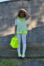 yellow no brand bag - white Converse shoes - white Zara jeans