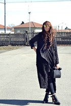 black asos boots - black H&M dress - black romwe coat - black Zara bag