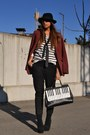 Black-asos-boots-brick-red-h-m-blazer-ivory-romwe-bag-black-h-m-pants