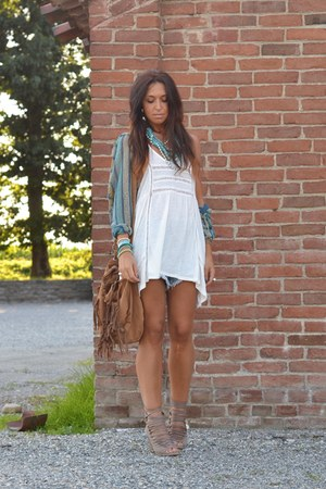 ivory Zara dress - aquamarine Missoni cardigan - light brown bronx wedges