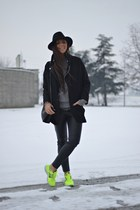 black Zara coat - black H&M hat - black Zara bag - black H&M pants