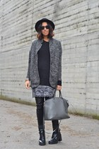black Zara boots - heather gray matilda dress - dark gray H&M sweater