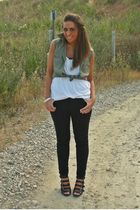 green H&M shirt - white H&M top - black Zara pants - black asos shoes - gray vin
