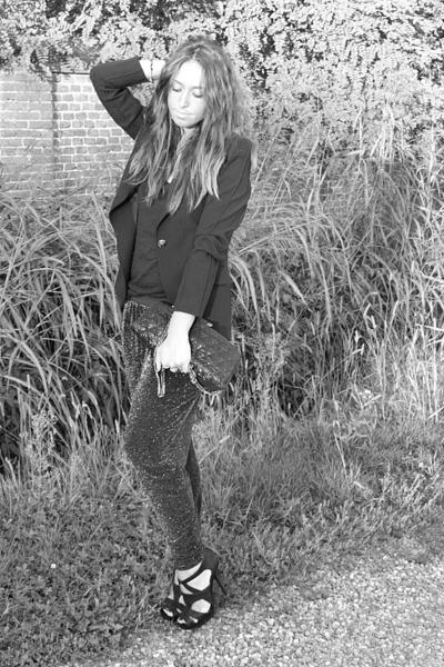 black Zara blazer - black H&M top - silver Zara pants - black Zara shoes - silve