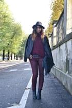 black Zara hat - black Zara Man jacket - crimson H&M sweater - black REPLAY bag
