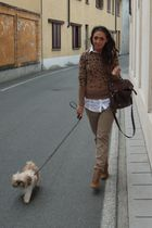 brown Zara sweater - white Zara shirt - beige Zara pants - beige Zara boots - br