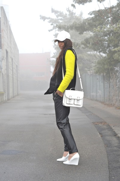 white H&M hat - yellow H&M sweater - white H&M bag - black Mango pants
