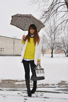 black romwe bag - black asos boots - white Zara coat - yellow Zara Man sweater