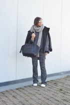black asos coat - black Celine bag - charcoal gray Zara pants