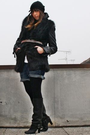 black Zara vest - black no brand jacket - blue Zara shorts - black Zara boots -