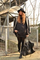 black Zara boots - black DIY jacket - black H&M sweater - black balenciaga bag