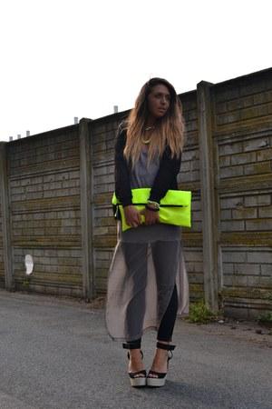 yellow wwwarmadiodimatildeit bag - silver Zara dress - black romwe jacket