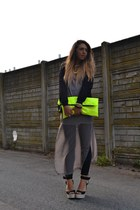 yellow wwwarmadiodimatildeit bag - silver Zara dress - black romwe jacket
