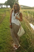 white H&M top - yellow Zara pants - white no brand shoes - beige H&M purse - sil