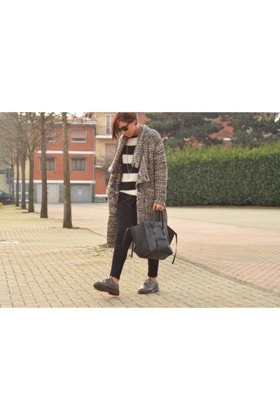 heather gray Bershka coat - heather gray Dr Martens shoes - black Celine bag