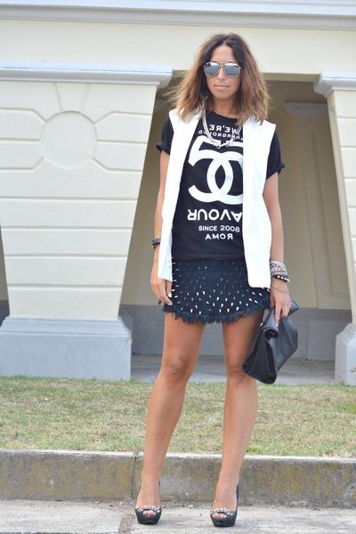 black 5Preview t-shirt - black DIY shoes - black Zara bag