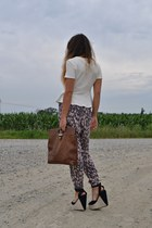 black Forever 21 wedges - brown vintage bag - camel H&M pants - ivory Zara top