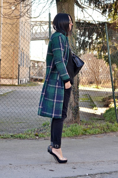 green JollyChic coat - black from my shop bag - black Bershka sunglasses