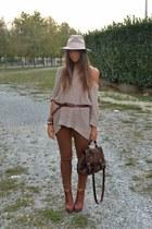 brown pants H&M pants - eggshell hat Topshop hat - eggshell sweater H&M sweater