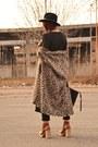 Camel-asos-boots-black-sheinside-dress-brown-bershka-cardigan