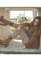 brown boots boots - brown zara Blazer blazer - bronze vintage fur collar accesso