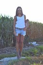 Periwinkle-levis-shorts-camel-bronx-wedges