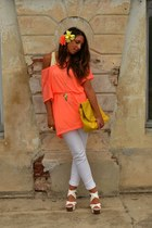 yellow bag wholesale-dressnet bag - white wedges UrbanOG wedges - orange fluo ba