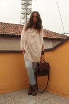 beige H&M shirt - blue Zara jeans - brown asos boots - brown asos bag - brown no