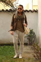 green H&M jacket - green Zara shirt - gray Zara pants - beige lolita shoes - bei