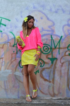 yellow H&M bag - bubble gum H&M sweater - yellow Forever 21 flats