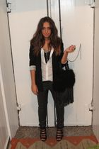 black H&M blazer - white Zara shirt - black H&M accessories - gray H&M pants - b